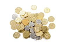 Coins of different denominations . - stock photo