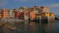 Liguria, Italy, Genoa Boccadasse cityscape Stock Footage