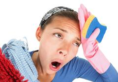 Funny Tired house cleaning woman - stock photo