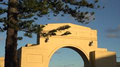 Art Deco New Napier Arch along Marine Parade, New Zealand Stock Footage