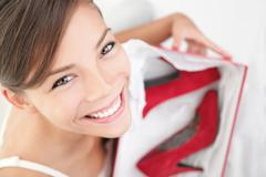High heels woman getting shoes as gift Stock Photos