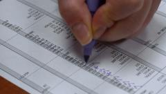Checking Payroll Taxes Voided 4k Stock Footage