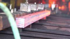 Transfer fiery steel blocks Stock Footage
