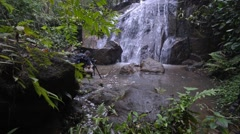 Beautiful Waterfall In Tropical Forest, Camera Slide Right Stock Footage