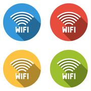 Collection of 4 isolated flat colorful buttons for wi-fi (wifi) Stock Illustration