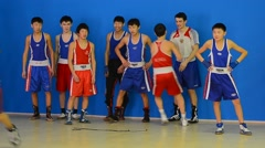 Boxing team training Stock Footage