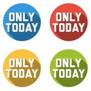 Collection of 4 isolated flat colorful buttons for only today Stock Illustration
