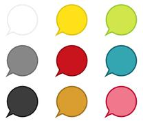 Collection of 9 circle speech bubbles Stock Illustration