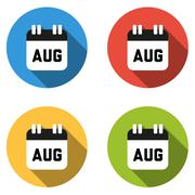 Collection of 4 isolated flat colorful buttons for August (calendar icon) - stock illustration