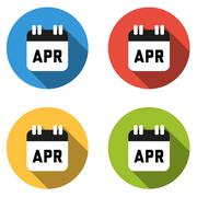 Collection of 4 isolated flat colorful buttons for April (calendar icon) - stock illustration