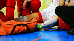 Physical injury in basketball game - stock footage