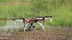 Hexacopter drone taking off 200 FPS Stock Footage