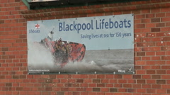 Blackpool lifeboat stationwall  sign poster Stock Footage