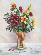 Painting Flowers in a Glass Vase Stock Illustration