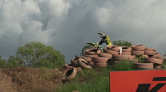 Stock Video Footage of Motocross rider slow motion  jump 200 FPS