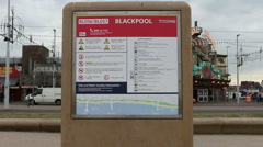 Blackpool beach information sign Stock Footage