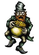 Stock Illustration of Greedy Leprechaun and a pot of gold