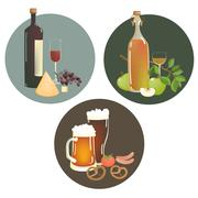 Alcohol beverages and snacks Stock Illustration