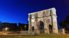 Triumphal Arch of Constantine. Rome, Italy. Time Lapse Stock Footage