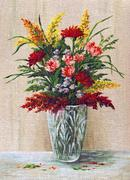 Painting Flowers in a Crystal Vase Stock Illustration