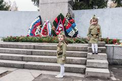 Kamenka, RUSSIA - May 9, 2014: The laying of wreaths at the monument to the s - stock photo