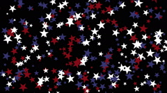 Stars particle background,USA United States American flag five-pointed star. Stock Footage