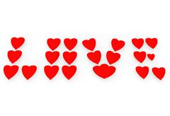 Word love from red hearts. - stock photo