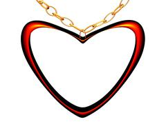Medallion on a chain in the form of red heart. - stock photo