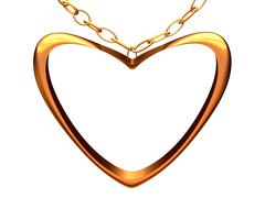 Medallion on a chain in the form of gold heart. Stock Photos
