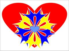 Beauty red heart with colored patterns. - stock photo