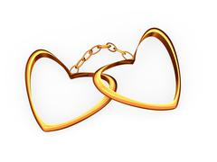 Gold hearts connected a gold circuit. - stock photo