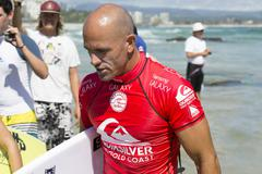 Kelly Slater in the Quiksilver Pro at Snapper Rocks - stock photo