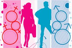 Silhouettes of the man and the woman - stock photo