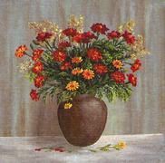 Marigold Flowers in a Clay Pot - stock illustration