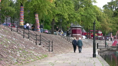 Chester, people walking alongside the River Dee Stock Footage