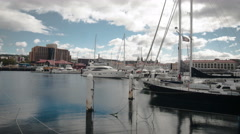 Hobart Boats time lapse wide 4k Stock Footage