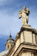 Angel statue in St. Mary of Angels Basilica in Assisi - stock photo