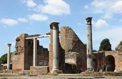 Ruins of a temple in Ostia Antica Stock Photos