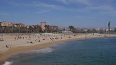 Platja de la Nova Icària, Barcelona Stock Footage