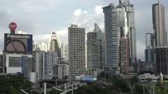 Panorama, La Cinta Costera, Panama City, Panama Stock Footage