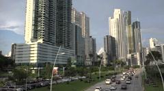 Panorama with traffic. La Cinta Costera, Panama City, Panama Stock Footage