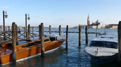 Pier for boats on Grand Canal Stock Footage