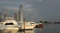 Panorama and yacht marina. La Cinta Costera, Panama City, Panama Stock Footage