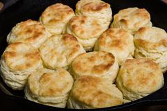Fresh biscuits baked in a cast iron skillet Stock Photos