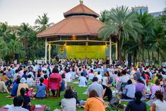 Concert in the park by Bangkok Symphony Orchestra at Lumpini park - stock photo