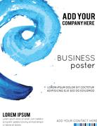 Vector Poster Template with Watercolor Paint Splash. Abstract Aquarelle Backg - stock illustration