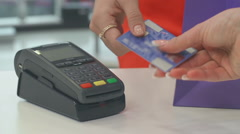 Payment by Bank Card Stock Footage
