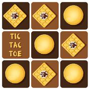 Stock Illustration of Tic-Tac-Toe of macaron and waffle