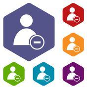 Remove user rhombus icons - stock illustration