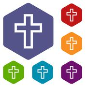 Protestant Cross rhombus icons - stock illustration